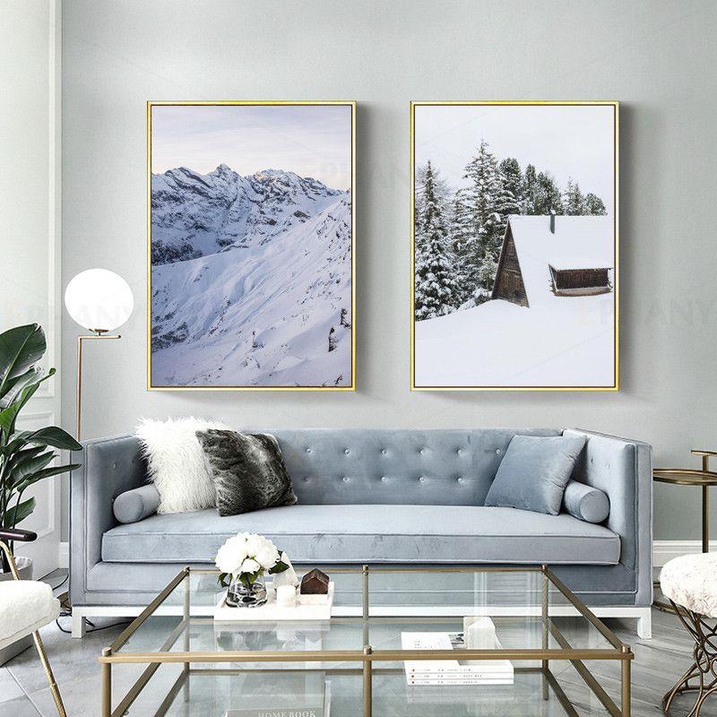 İskandinav Poster Kış Kar Manzara Nordic Wall Art Canvas Salon Dekorasyonu için Dekorasyon Resmi Boyama yazdır