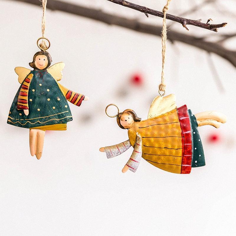 Papai Noel boneco de neve do anjo Ornamento de suspensão Decoração Pingentes Ferro Artesanato Ano Novo Xmas Home Decor Partido 62599 # 1g8z