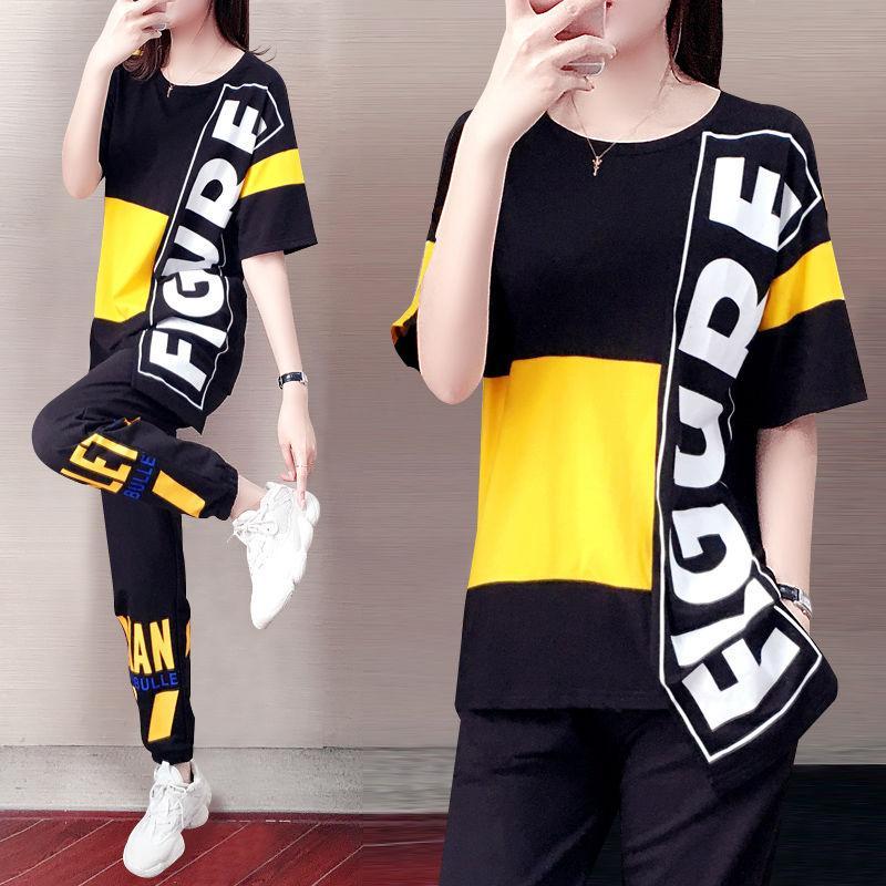 Dress Dress Trecksuit Donne 2021 Suit femminile estate casual allentato coreano moda donna manica corta 2 set