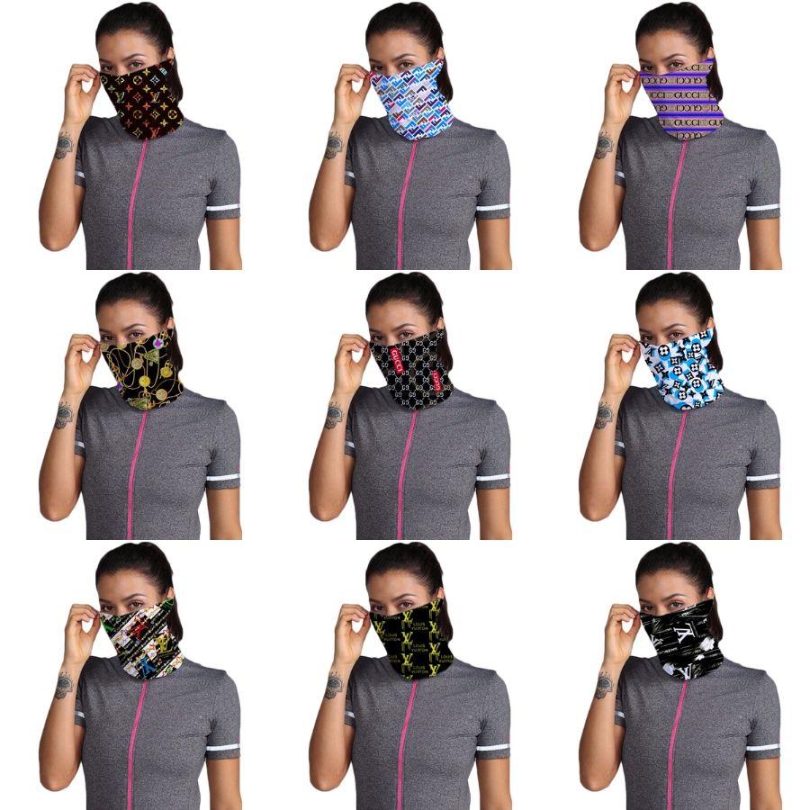 Designer Máscara Impresso Mulheres Cotton Magia Cachecol Rosto 14 Styles Chiffon Handkerchief exterior Windproof Meia Face à prova de poeira do pára-sol Ma # 563 # 596