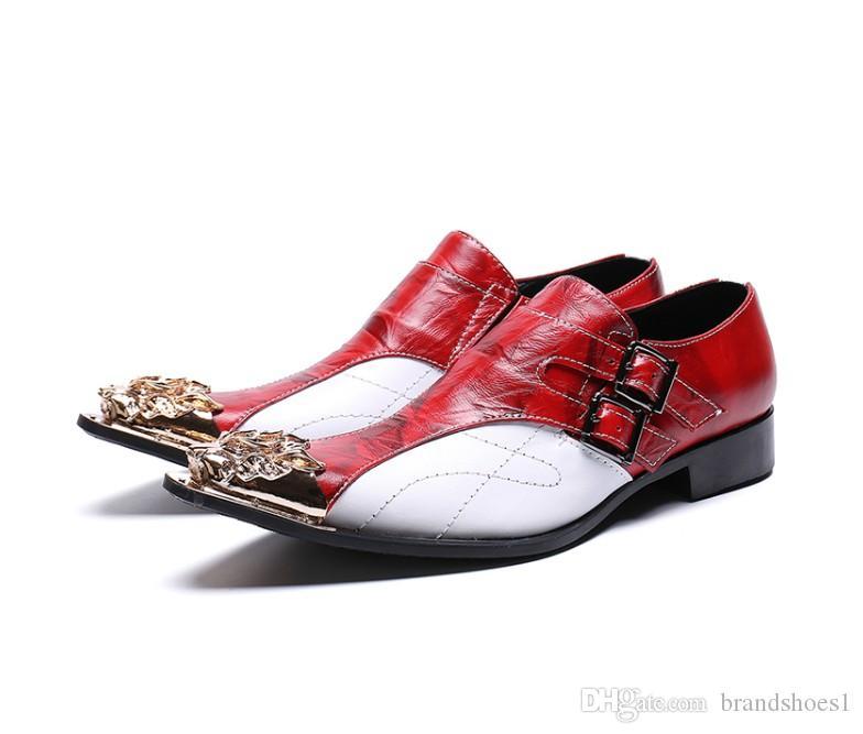 Herren roten und weißen Lederschuh aus echtem Leder Oxford für Männer Schuhe slipon Hochzeit Freizeitschuhe Leder brogues Kleid