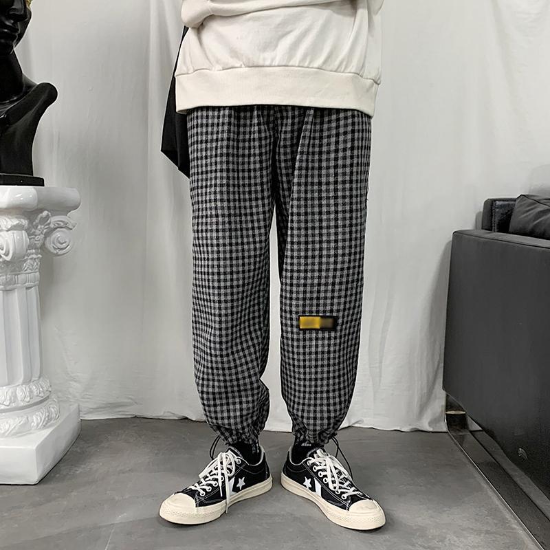 Corea hombres de la tela escocesa pantalones altura del tobillo recta respirable 2020 de verano Moda de Calle Negro flojo causal pantalones finos masculino