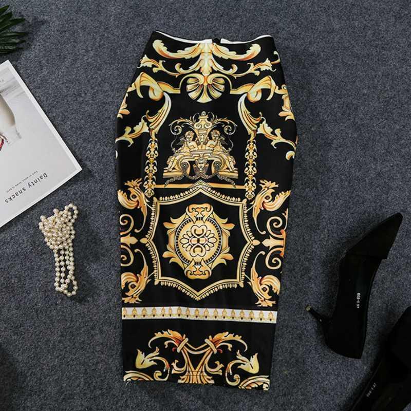 2020 펜슬 스커트 높은 스트레치 추상 패턴 미디 슬립 엉덩이 스커트 여성을 인쇄 유럽 여성 여름 새로운-오는