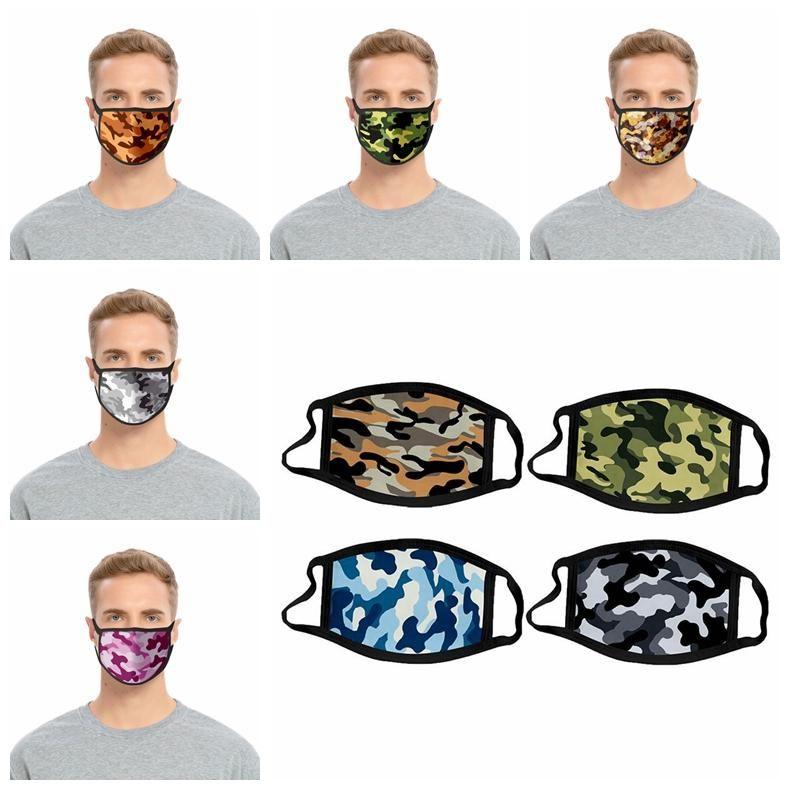 DHL navire Camouflage Face Mask Enfants Coton respirateurs anti-poussière Bouche moufles Lavable réutilisable adulte Camo Masques Visage 100pcs
