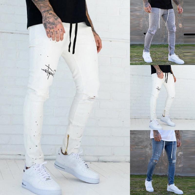 Мужская Slim Fit Denim брюки рваные штаны Мужские джинсы Окрашенный Узкие джинсы Drawstring Мужская одежда ROPA