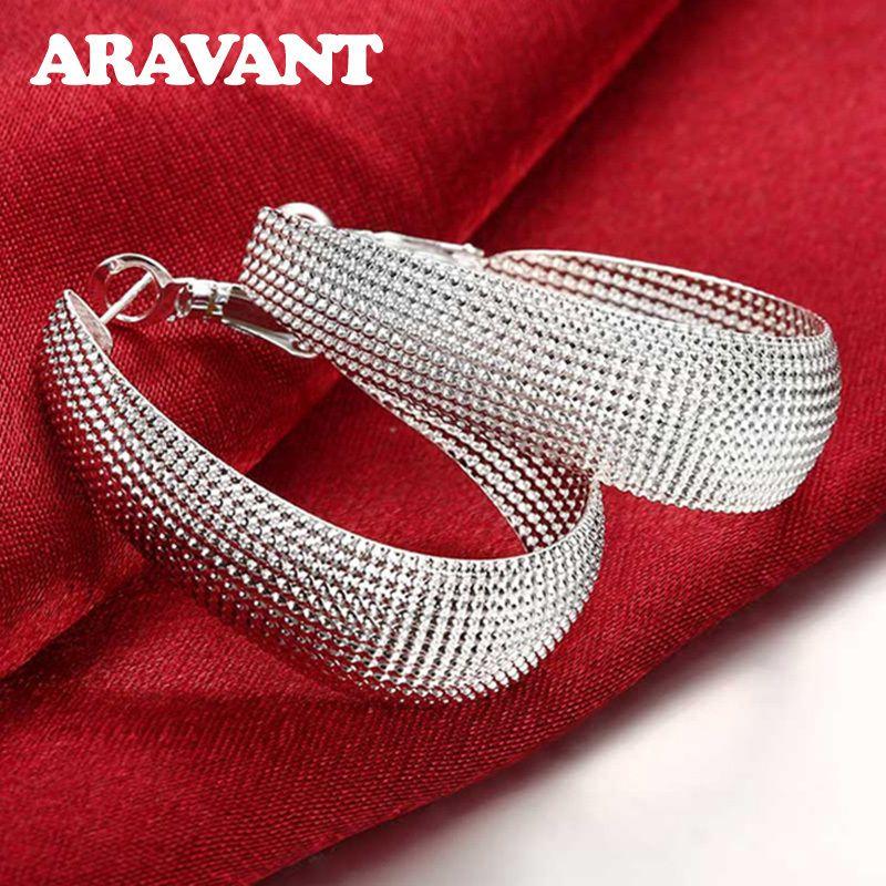 925 Silver Düz U Web Hoop Küpe İçin Kadınlar Moda Düğün Noel Üst Kalite Takı Hediye
