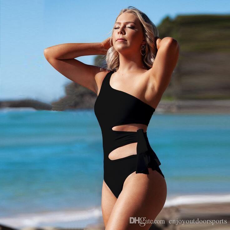 High Waisted Cut Out Bathing Suit Women One Piece Swimming Suit for Women Black Bandage Swimsuit Plus Size Swimwear Womens Monokini 2020 UK6