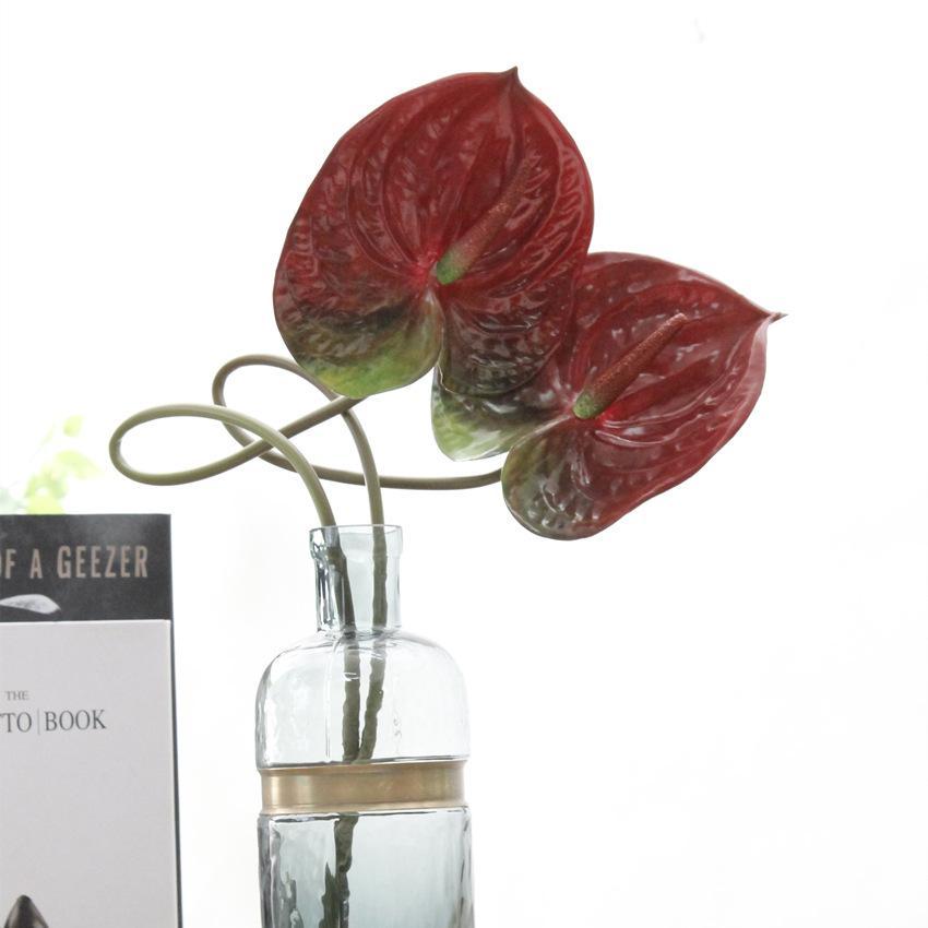 3 colores PU artificial Anthura realista artificiales ramos Anthura para Inicio de la boda de la fábrica directamente la venta Decoración de fiesta