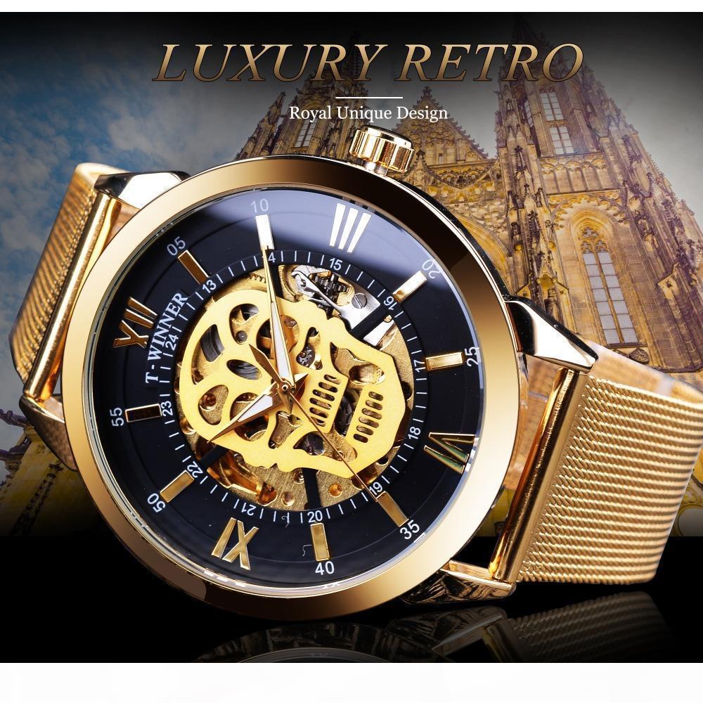 E Winner horloge classique noir d'or crâne Affichage lumineux mains Mannen hommes Horloge '; S mécanique automatique Bel Mesh Montres-bracelets