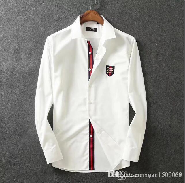 Reine Baumwolle mercerisierter Baumwolle Revershemd der Männer lange Hülse dünne koreanische Art und Weise schöne Männer Hemd business casual