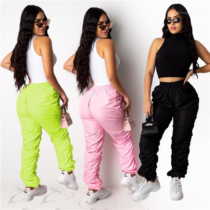 Sweatpants Высокая талия Сыпучие Повседневный Ruched Упругие талии брюки Famale Модельер брюки женщин Сплошной цвет