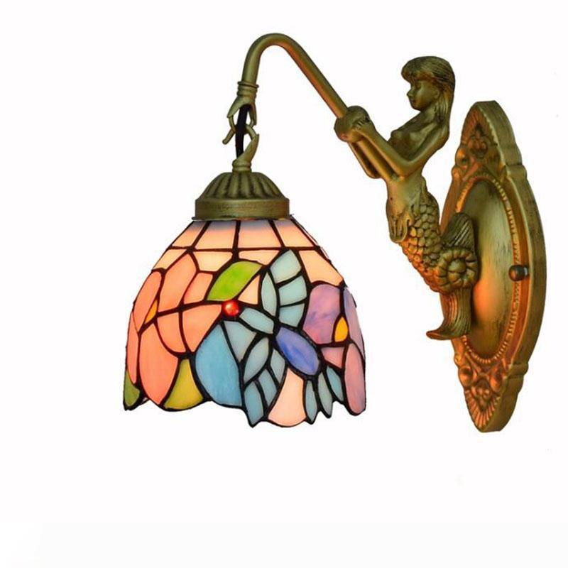 Средиземноморский Креативный Тиффани свет стены Пастырской деревня Ретро цветок висит лампу высокого качества LED Art дома декоративные настенные лампы
