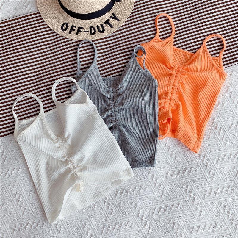 أزياء الأزياء الصيف الفتيات سترة القمصان الطفل بالجملة القطن فارغة مرونة مضلع الأزياء قمم 2-7t