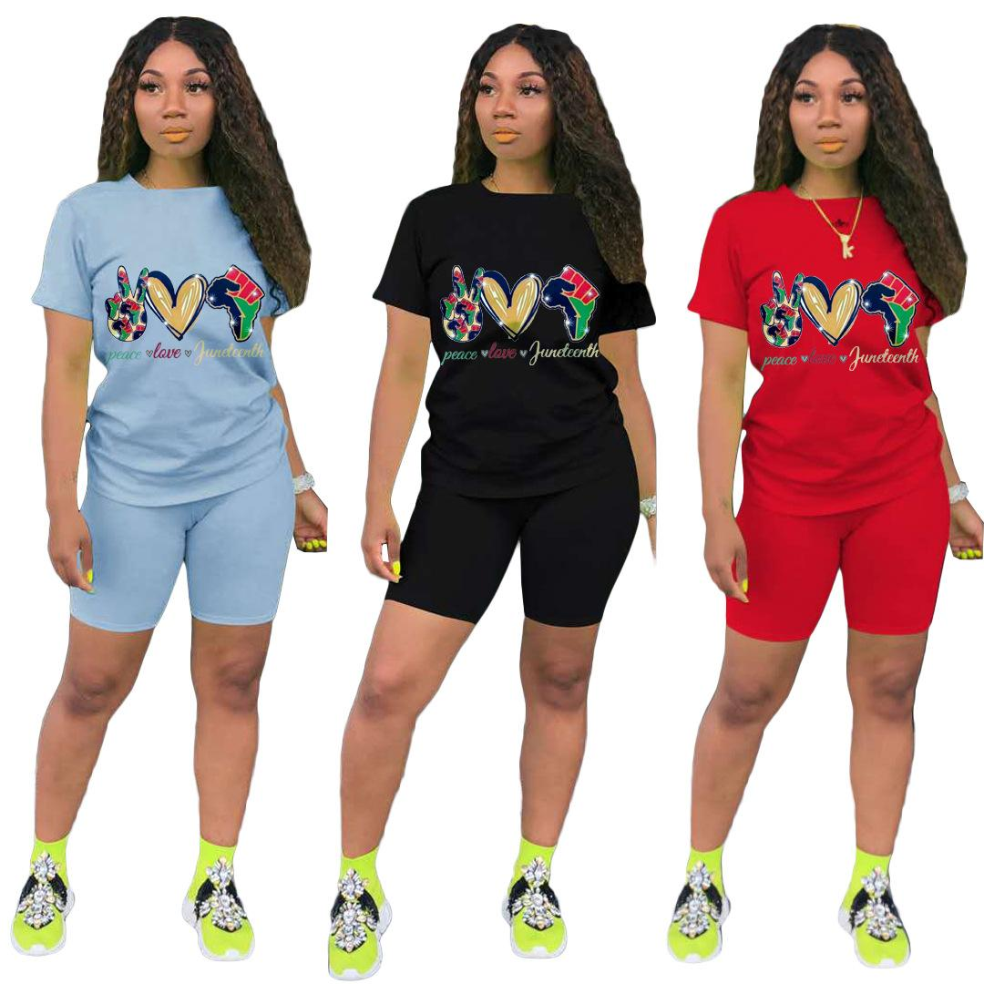 Donne Summer Two Pieces Set Tracksuits Manica corta Stampa T-shirt T-shirt da 2 pezzi Abiti sportivi fitness