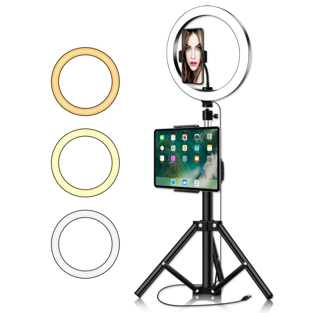 10inch Circle Ring Light with Tripod Stand Big Phone Clip for Ipad Professional Camera Photo Lighting for Makeup Youtube Video