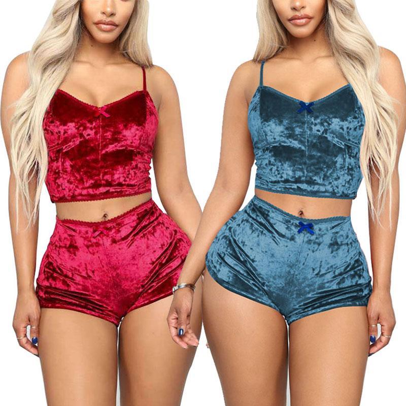 Las mujeres pijamas de terciopelo atractivo de trajes de dos piezas 2 piezas de ropa de noche de las señoras de chaleco femenino cortocircuitos de verano de las mujeres ropa de dormir 050716