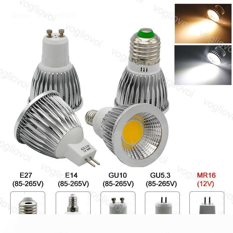 LED Ampuller Dim Spot Lamba COB 110V 220V 120 Açı Alüminyum GU10 E27 GU5.3 MR16 Işıklar Sıcak Beyaz DC12V Epacket Soğuk