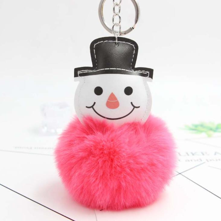 Molto carino portachiavi pupazzo di neve, pendente chiave dell'automobile, palla di Natale pupazzo di neve pelliccia portachiavi ornamenti peluche ciondolo auto borsa portachiavi