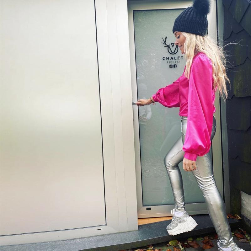 Melody Wear Silber Lederhose Elastic Mid taillierte Kunstleder Jeans Frauen Plus Size Gym Leggings Jogger Frauen Jogginghose