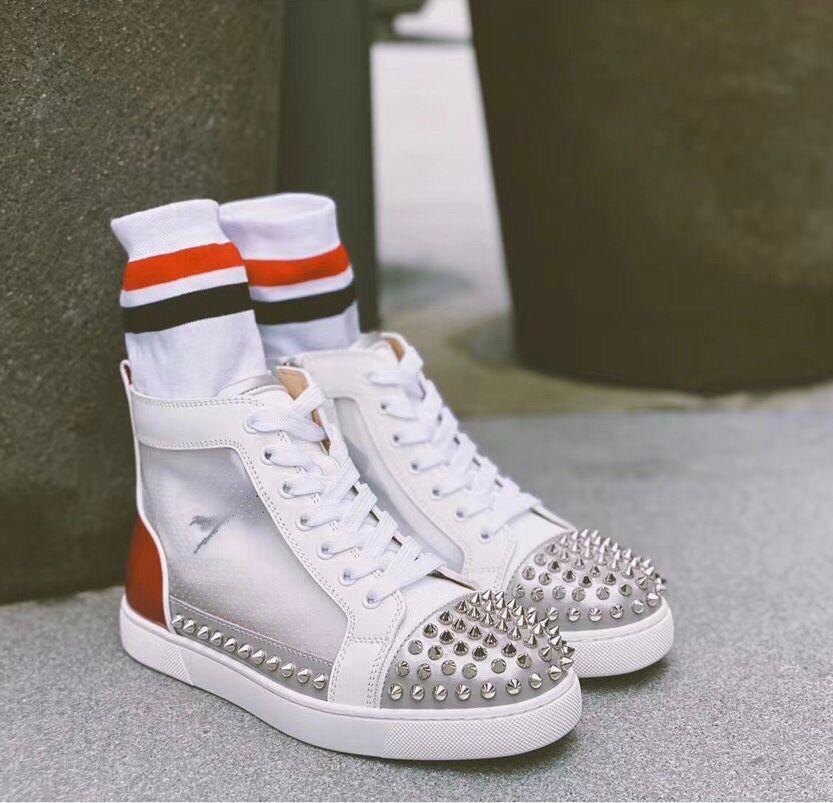 Новые Sosoxy 2020-х годов Шипы Донна тапки Обувь Шипы Red Bottom кроссовки для мужчин, женщин Summer Mesh Дышащие Открытый Повседневный Спорт EU35-47