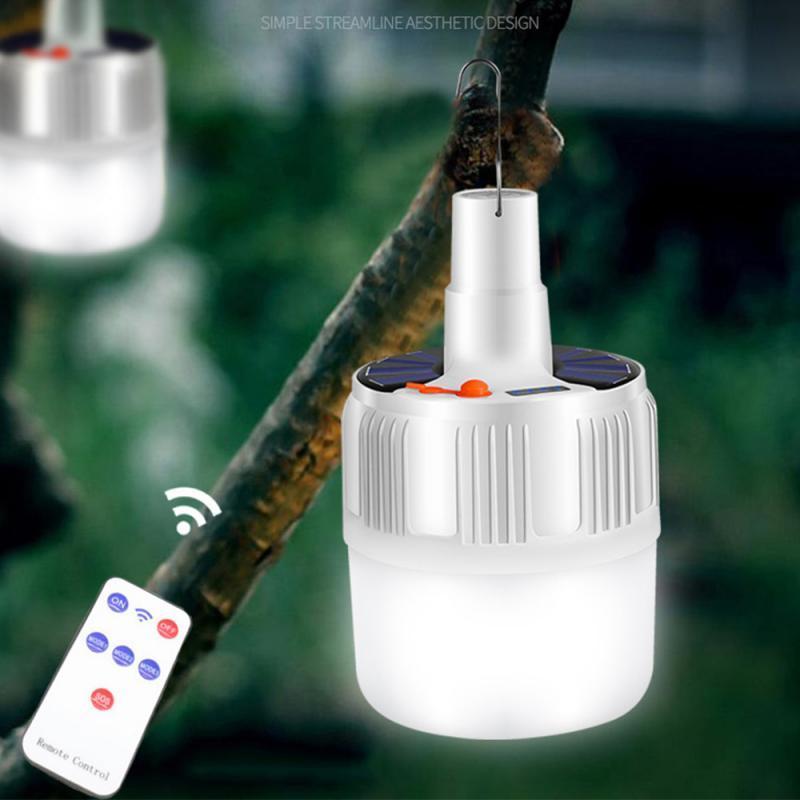 100W Camping Lumière solaire rechargeable Lumière Ampoule LED Portable Charge Lampe LED de batterie de secours Accueil Marché de nuit en plein air Graden