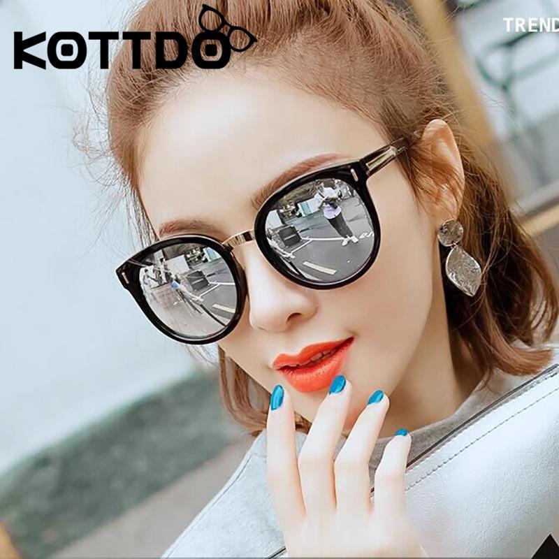 KOTTDO la vendimia redonda de gran tamaño gafas de sol de las mujeres de lujo retro del diseñador laidies gafas de sol clásicas gafas para mujer Marca