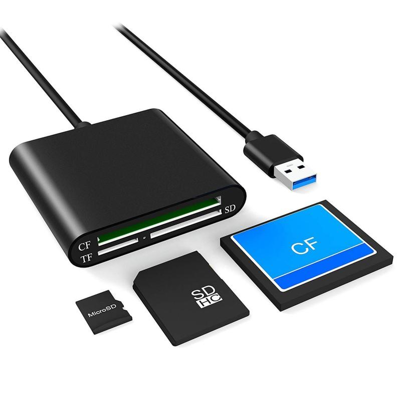 50pcs En kaliteli Taşınabilir Mikro USB 3.0 OTG 3 yuvalı Yüksek Hızlı CF SD Micro SD TF Kart Okuyucu İçin PC Android Telefon kablosu