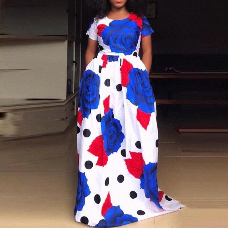 Kısa Kollu Yaz Kadın Mavi Çiçek Vintage Afrika Uzun Elbise A Hattı Baskı 2019 Artı Büyük Beden Günlük Bayanlar Maxi Elbiseler Elbise St ozYB #
