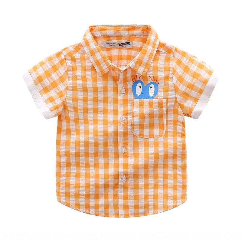 2020 new wear boys' Plaid lapel short-sleeved pure Children's shirt children's clothing cotton love cartoon printed shirt