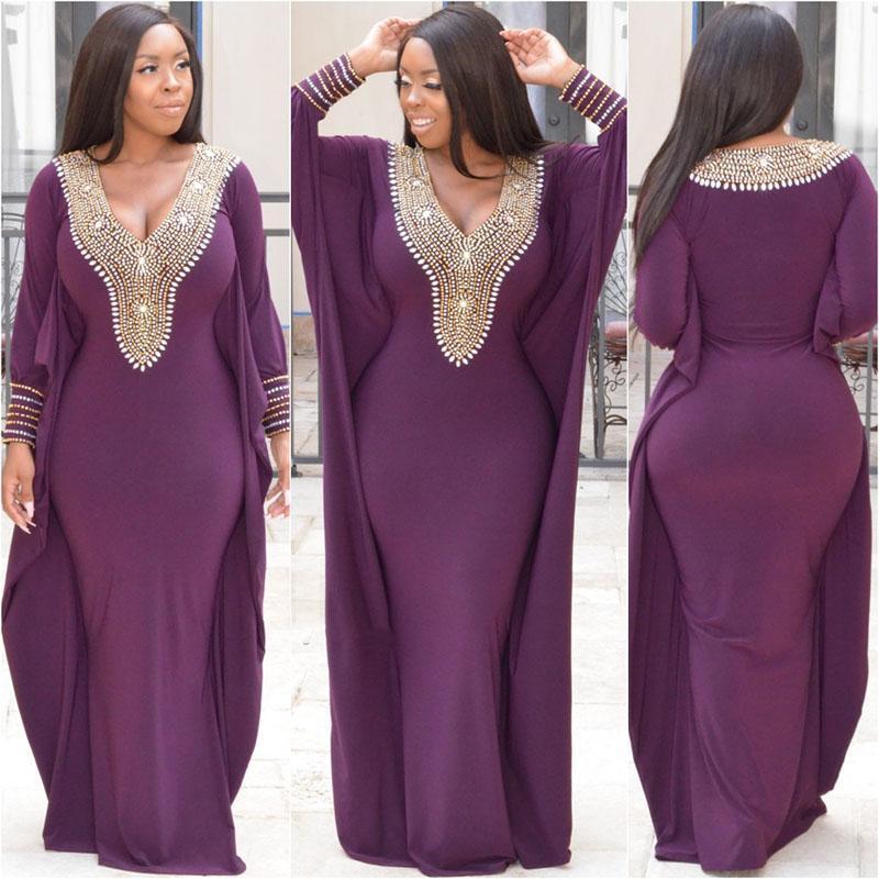 Muslim Evening Dresses 2020 V-Neck Long Sleeves Hijab Arabic Prom Dress Dubai Beaded Purple Women Formal Kaftan Party Gowns