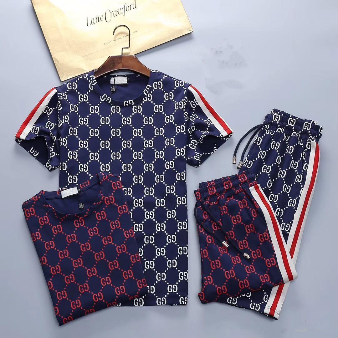 2020 New Fashion Mens Tute Designer Imposta di lusso del Mens di estate dei vestiti Esecuzione Suits T-shirt Sportswear Kit