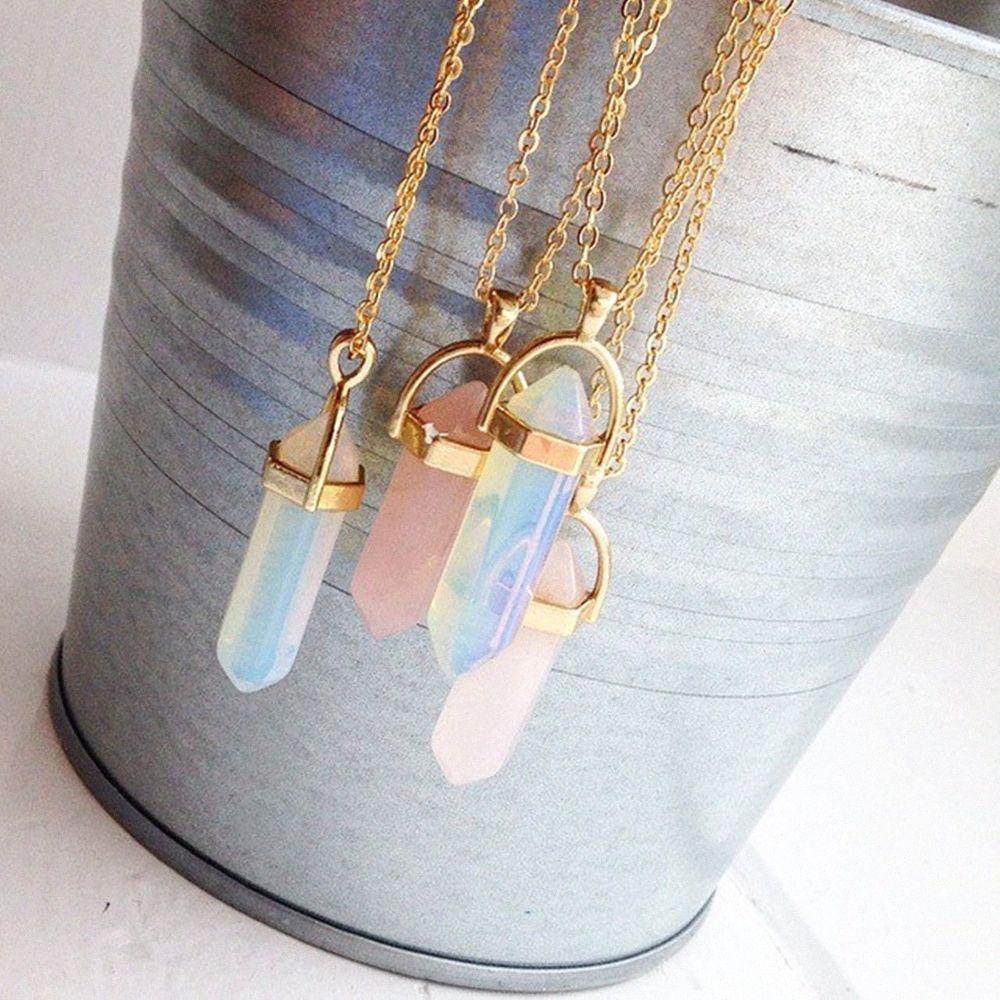 Мода шестиугольной Колонки кварц ожерелье Подвеска Золотой цепи Природного камень Кристалл ожерелье для женщин ювелирных изделий Rif1 #