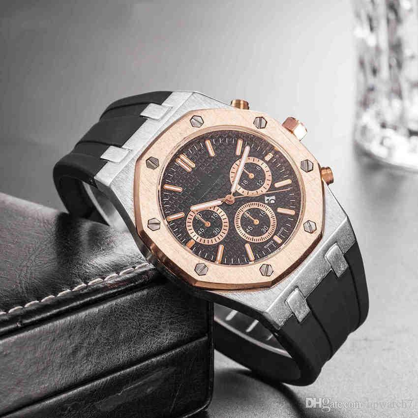 Black Rose Gold Watch Black Rubber Strap Mens Business Casual Calibre 36 Fashion watch band 22mm Sports man Designe Watches Wristwatches