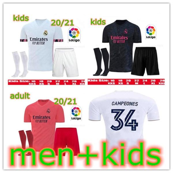 20 21 Thailand Real Madrid HAZARD Campeones soocer jersey 2020 2021 SERGIO RAMOS camiseta football shirt uniforms men + kids kit set