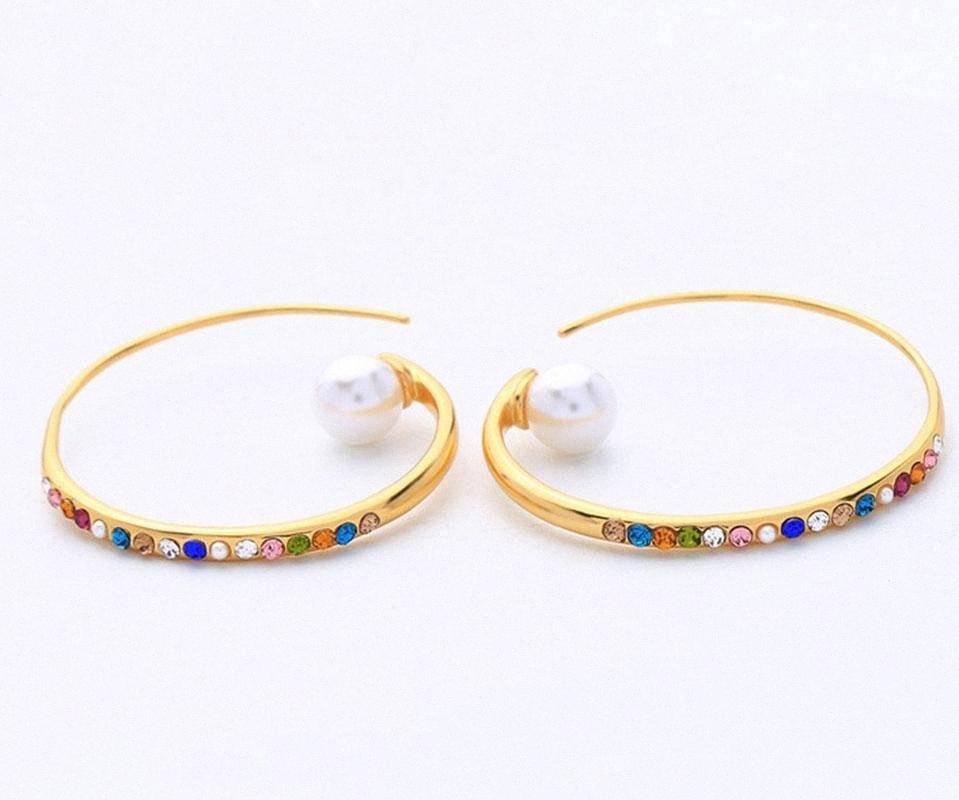 Big circle with colorful cz stones pearl women earrings in brass gold color kolczyki kupe L1mE#