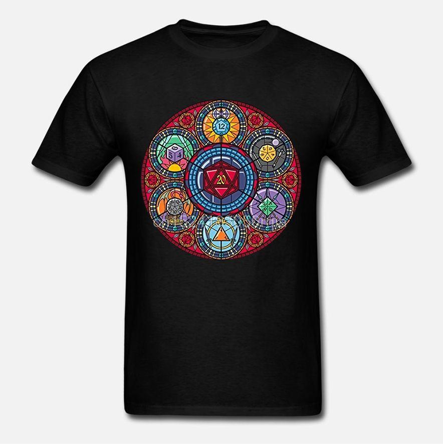 Stained Glass Poliédrica dados camiseta de los hombres de las mujeres Negro de manga corta Camiseta unisex