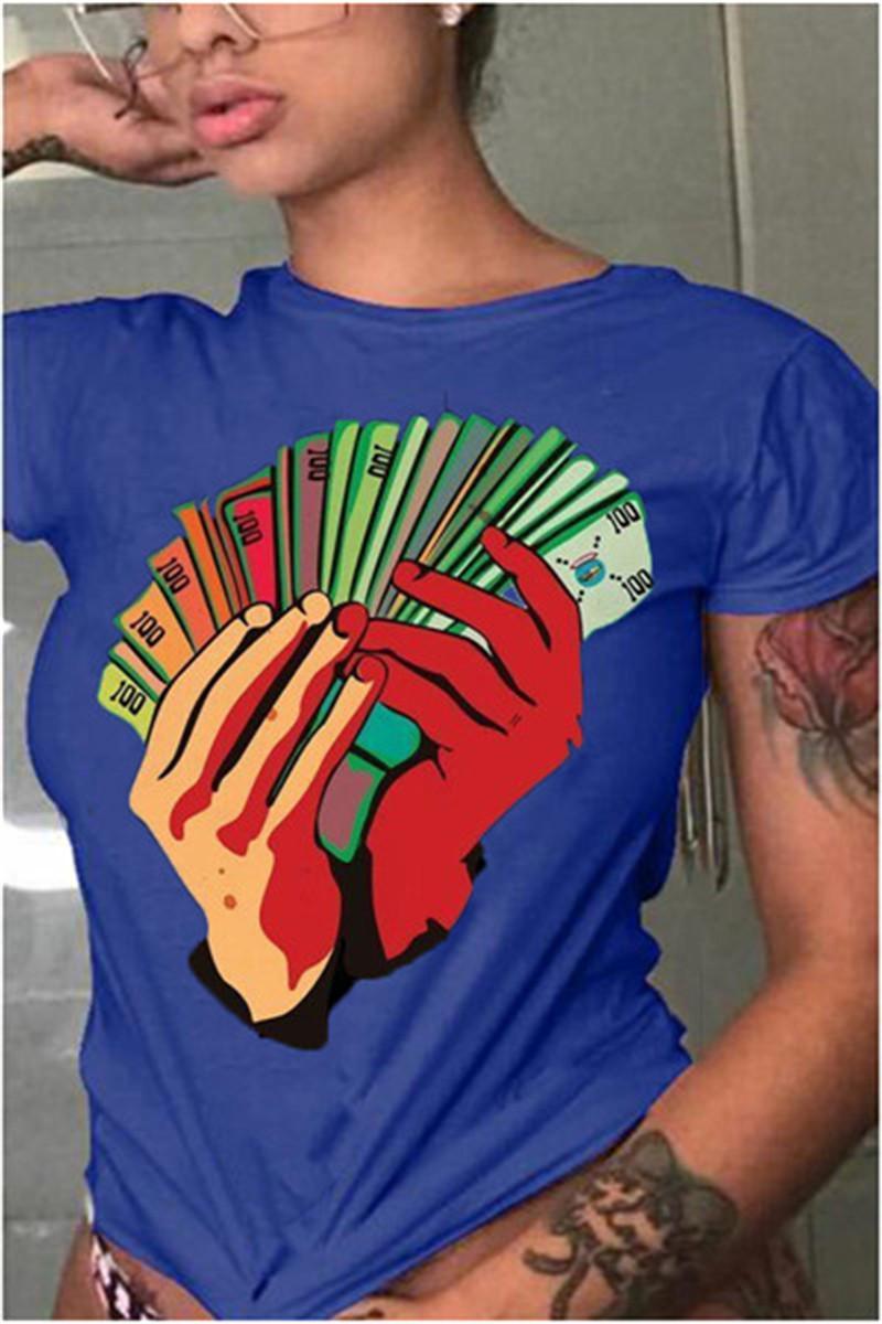 Rahat Dolar Desen Kadınlar Tshirt Moda Kısa Kollu O Boyun Katı Renk Kadınlar Yaz Tops Yeni Kadın Giyim