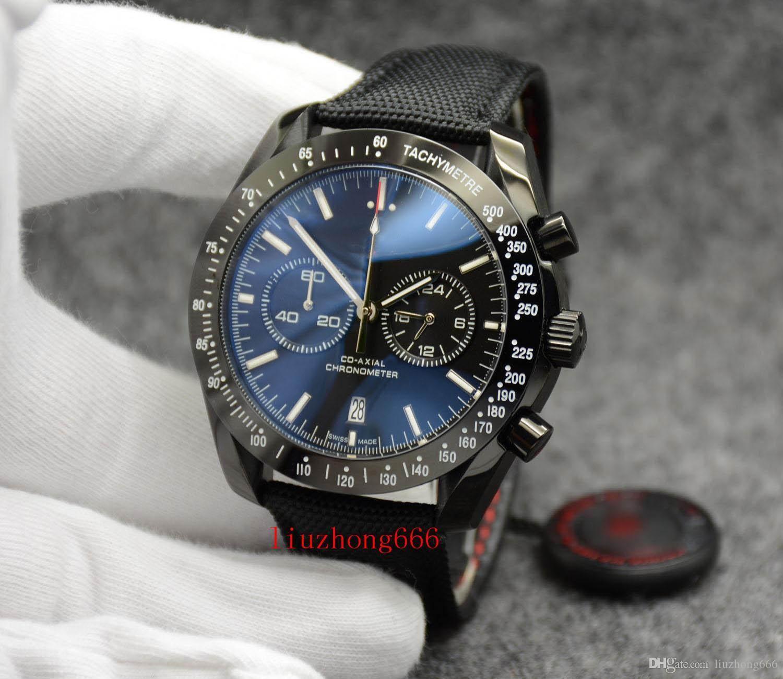 Chrono Quartz Velocità Uomini corsa Maestro Co-Axial Lato Oscuro Della Pelle Luna Black Watch Brown Orologi da polso Mens professionali