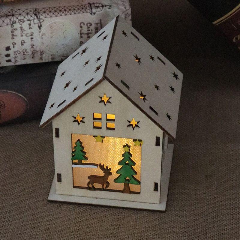 LED Вуд Санта Клаус дом Рождественская елка украшения лампы кабины Подвеска подарка Xmas Декор Для дома KM88 g2Bm #