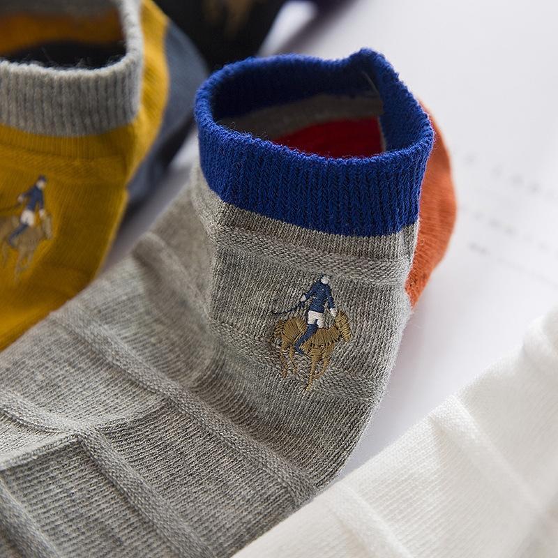 YXBCx printemps et coton bateau SocksSummer aiguille double casual bateau coton peigné PIER chaussettes POLO Chaussettes hommes brodé