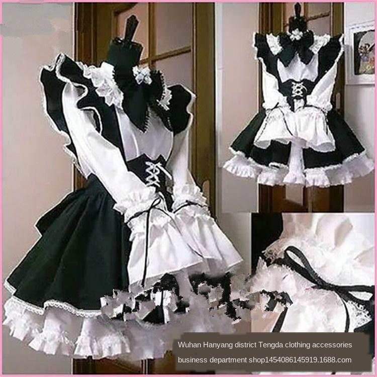 Costume da cameriera carina anime Exotic World Cafe ristorante bianco e nero domestica Caffè il vestito formale coswear