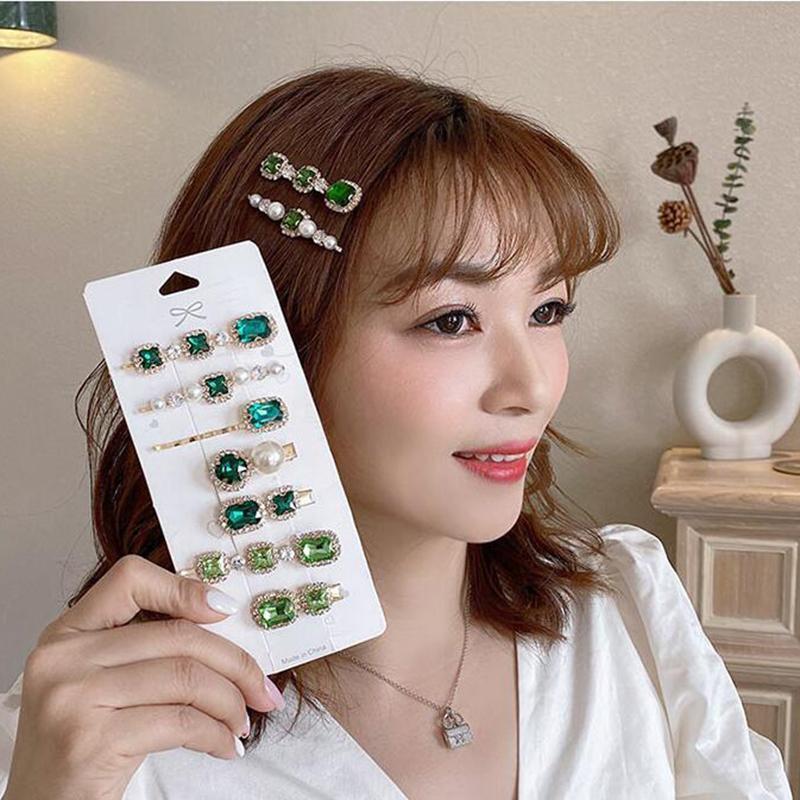 Saç Aksesuarları 2021 Kore Moda Kadın Kız Barrettes Şapkalar Trendy Basit Kristal Yan Klip Takı Toptan
