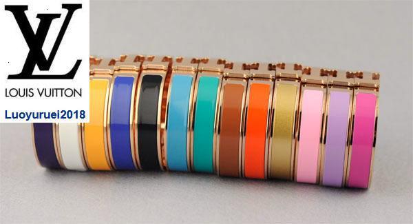 luoyuruei2018 Hot Vente Prix usine de haute qualité Brand Design Lettre or rose boucle en métal simple bracelet mode femme Lettre H Large