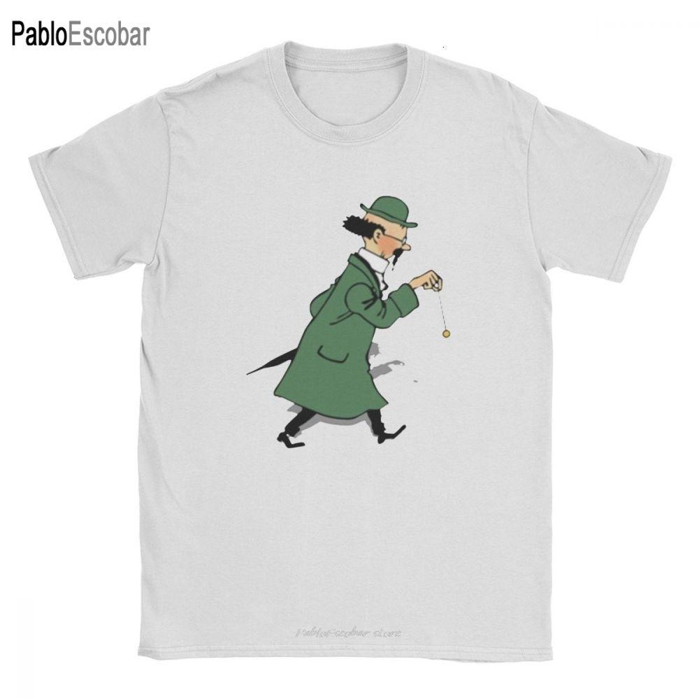 Hombres Tintín profesor Tornasol camiseta Las aventuras de Tintín ropa de algodón de la novedad tee nueva llegada de la camiseta