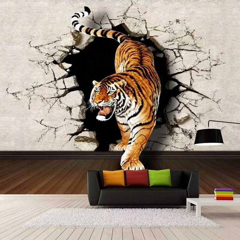 Drop Shipping Custom Photo Wallpaper Modern 3D Stereoscopic Tiger Breaking Wall Large Wall Painting Sofa Mural Picture lYLS#