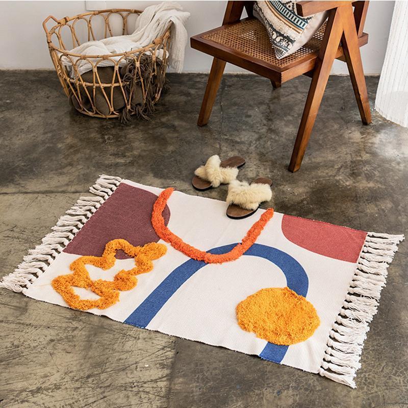Cotone Tappeto moderno nordico geometrico Area Carpet Casa Tapetes decorazione del salone della stuoia del pavimento Porta Mats Tappeti decorazione dell'hotel 60x90cm Y200527