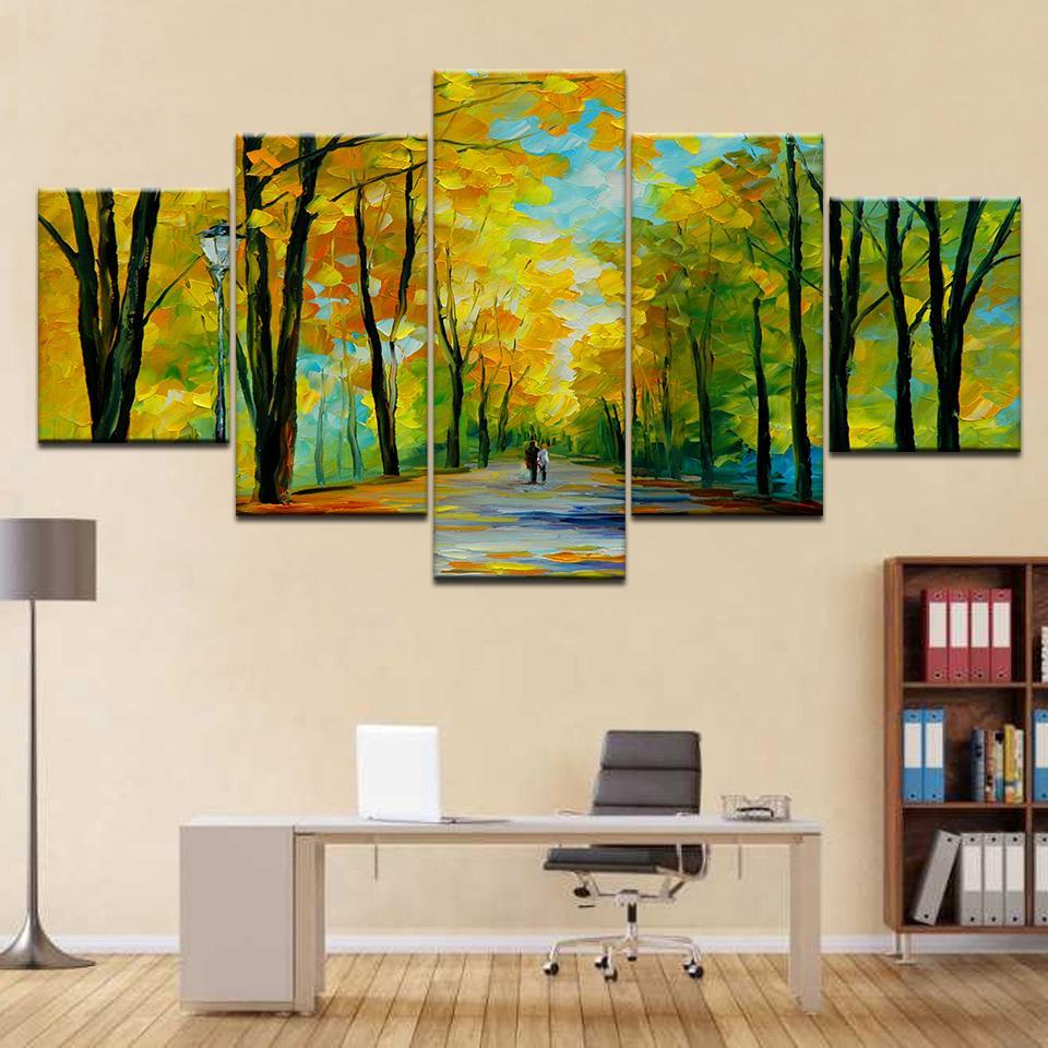 5 шт Прогулки Пары Canvas для Печатных изданий гостиной стены Современных картины каркасных стены Фотография Toile Wall Art