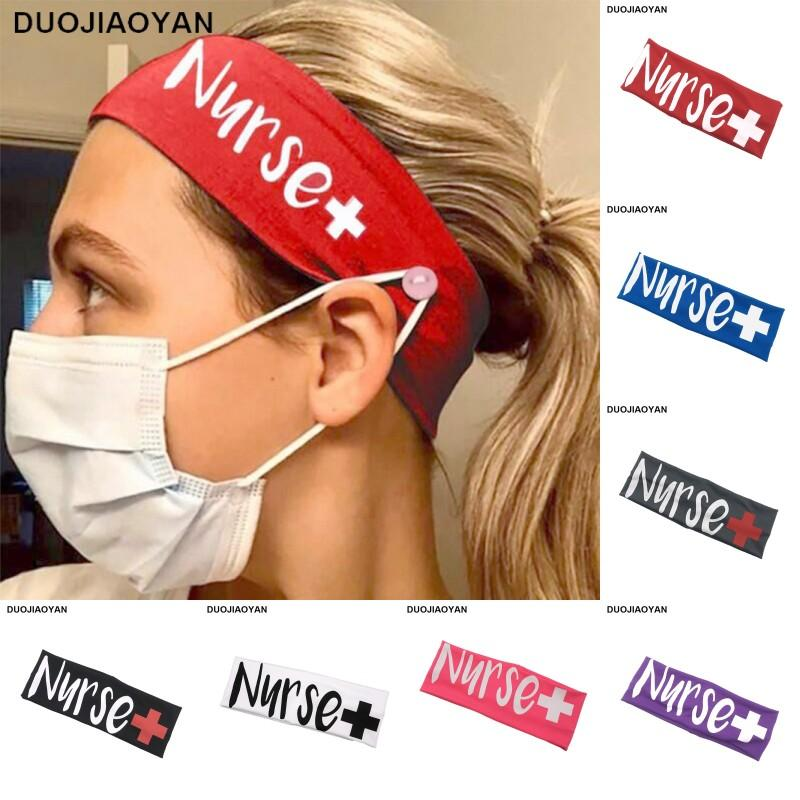 Élastique lait soie infirmière Bouton Masque bouche Bandeau exercice Yoga Bandeaux Band Accessoires cheveux