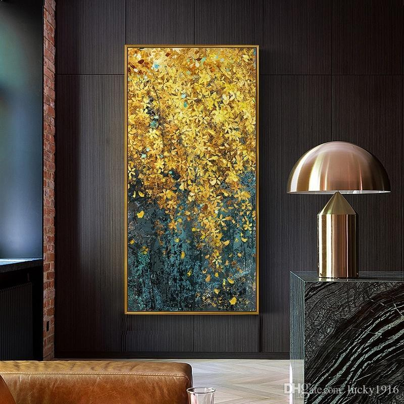 Abstract Nordic Golden Leaf Large Wall Art Pictures Modern Canvas Oil Painting Floral Mural Art Posters & Prints Home Restaurant Decor