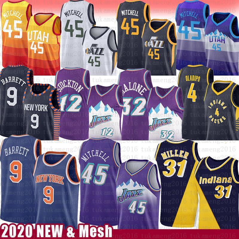 Donovan 45 Mitchell Reggie Miller 31 John Stockton 12 Karl Malone 32 Basketball Jersey Rudy 27 RJ 9 Barrett Gobert Victor 4 Oladipo Mesh